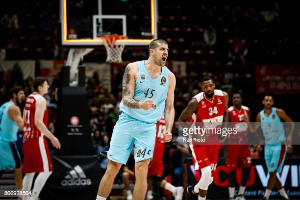 Milan Italy 26th october 2017 Adrien Moerman celebrate during a game of Turkish Airlines Euroleague basketball between AX Armani Exchange Milan vs FC...