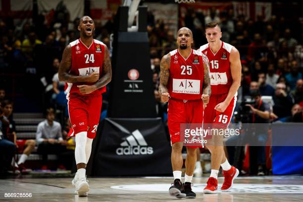 Milan Italy 26th october 2017 Amath MBaye Jordan Theodore and Kaleb Tarczewski celebrate during a game of Turkish Airlines Euroleague basketball...