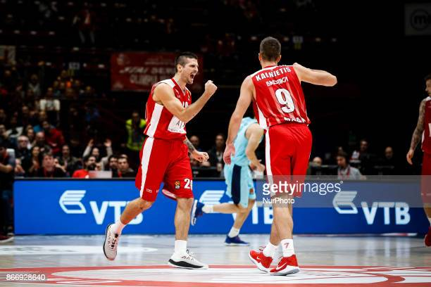 Milan Italy 26th october 2017 Andrea Cinciarini celebrate during a game of Turkish Airlines Euroleague basketball between AX Armani Exchange Milan vs...