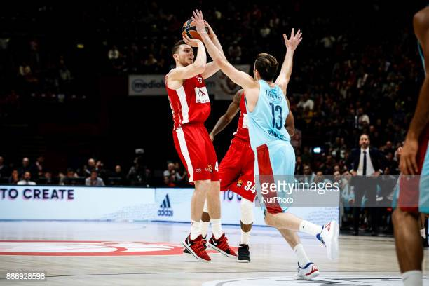 Milan Italy 26th october 2017 Dairis Bertans shoots a layup during a game of Turkish Airlines Euroleague basketball between AX Armani Exchange Milan...