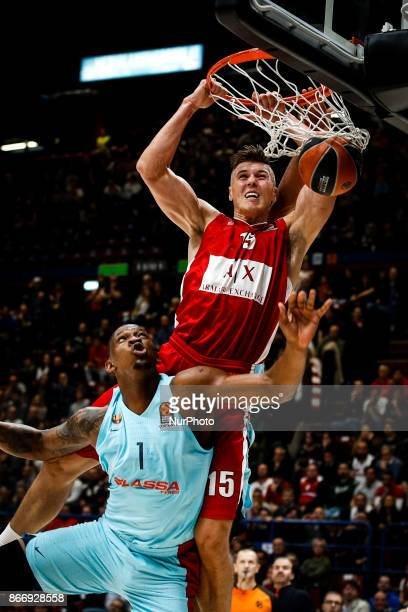 Milan Italy 26th october 2017 Kaleb Tarczewski make a slam dunk during a game of Turkish Airlines Euroleague basketball between AX Armani Exchange...