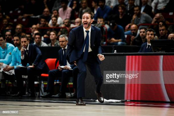 Milan Italy 26th october 2017 Sito Alonso celebrate during a game of Turkish Airlines Euroleague basketball between AX Armani Exchange Milan vs FC...