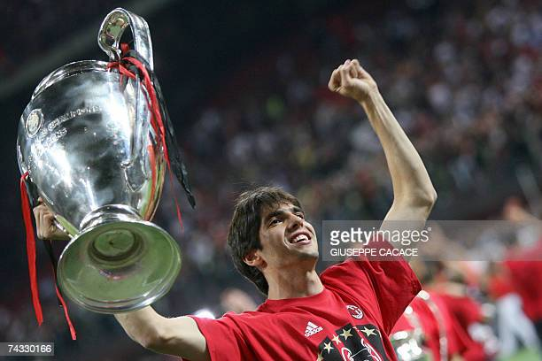 AC Milan player Kaka holds the Champions League Trophy during the victory celebration of AC Milan's 21 Champions League final win over Liverpool at...