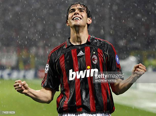 AC Milan's Kaka celebrates scoring against Manchester United during their European Champions League semi final second leg football match at The San...