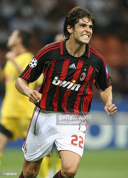 AC Milan's midfielder Kaka of Brazil celebrates after scoring a goal against AEK Athens during their Champions League Groupe H football match at San...