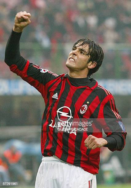AC Milan's midfielder Kaka of Brazil celebrates after scoring against Chievo during their Italian serie A football match at San Siro stadium in Milan...