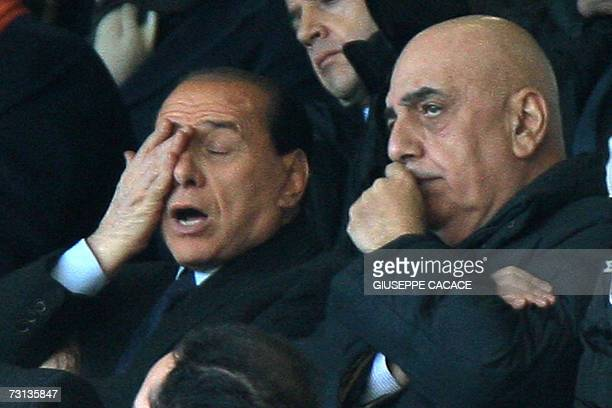 AC Milan's president Silvio Berlusconi and vice president Adriano Galliani watch the AC Milan Vs Parma Serie A match at San Siro Stadium 28 January...