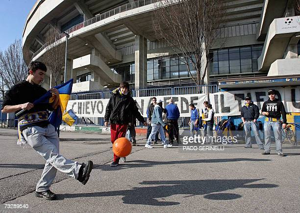 Chievo Verona supporters play fotball outside Bentegodi stadium before the Serie A football match Chievo Verona vs Inter Milan in Verona 11 February...