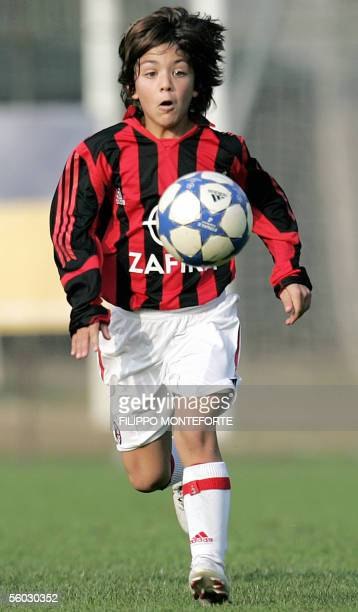 Junior AC Milan's Christian Maldini the eightyearold son of Italian soccer ace Paolo Maldini controls the ball during a match with team's juvenile...