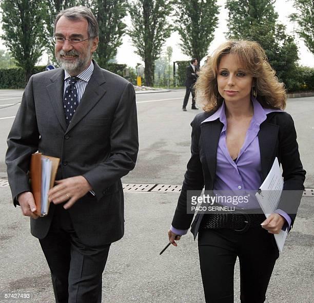 Marina Berlusconi the President of Italian publishing group Mondadori and Maurizio Costa CEO of Mondadori arrive at the groups annual general meeting...