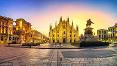Milan - Panorama of Piazza del Duomo at first sunlight