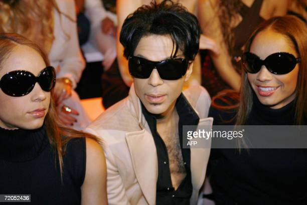 US singer Prince is pictured during Italian fashion house Gianni Versace show during the Spring/Summer 2007 women's collections 29 September 2006 in...