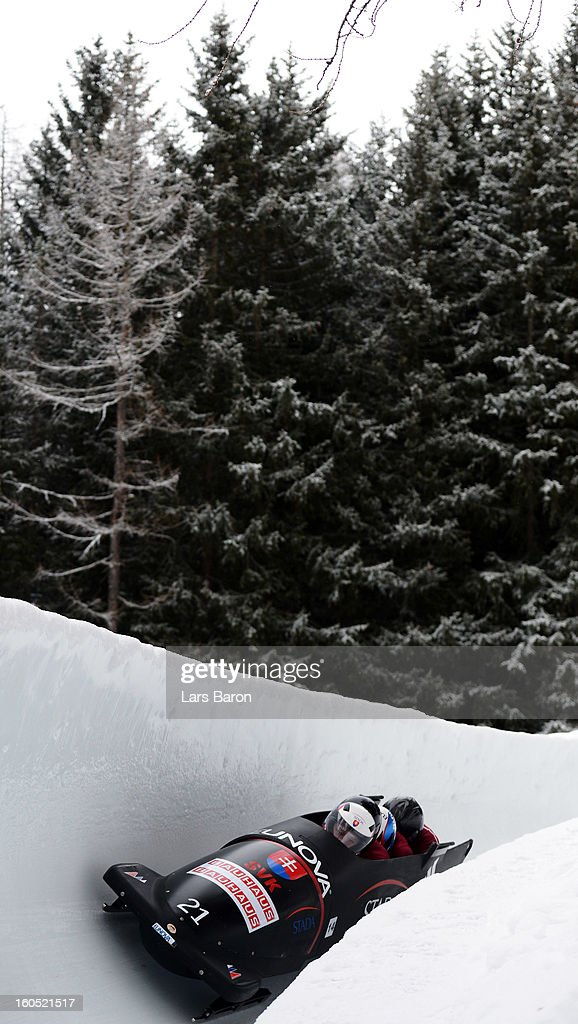Milan Jagnesak, Martin Tesovic, Vladimir Simik and Adam Zavacky of Slovakia compete during the Four Men Bobsleigh heat one of the IBSF Bob & Skeleton World Championship at Olympia Bob Run on February 2, 2013 in St Moritz, Switzerland.