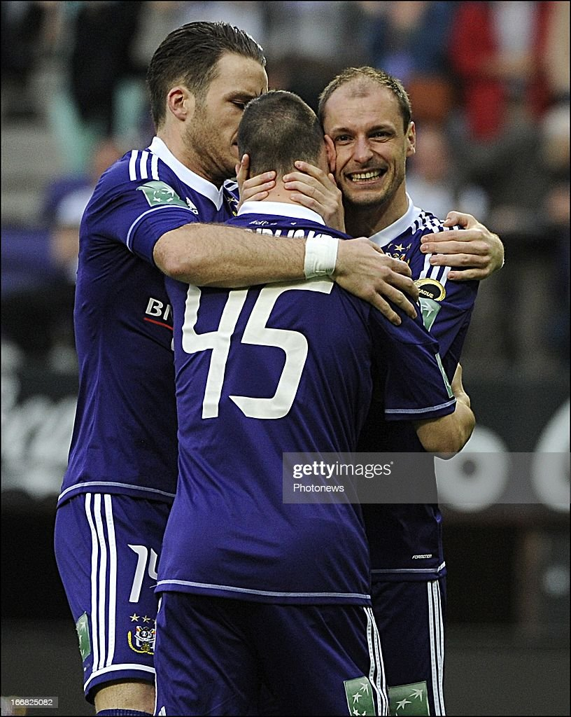 Milan Jovanovic of RSC Anderlecht celebrates with teammates after scoring during the Jupiler League play-off 1 match between RSC Anderlecht and Sporting Lokeren OVL on April 17, 2013 in the Constant Vanden Stock Stadium in Anderlecht, Belgium.