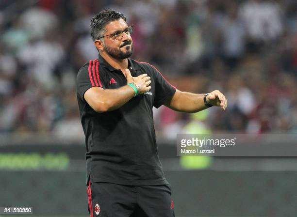 Milan juvenile coach Gennaro Gattuso salute the crowd during the Serie A match between AC Milan and Cagliari Calcio at Stadio Giuseppe Meazza on...