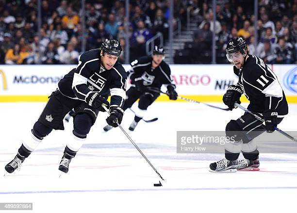Milan Lucic Anze Kopitar and Marian Gaborik of the Los Angeles Kings play on a line against the Arizona Coyotes during the second period of a...
