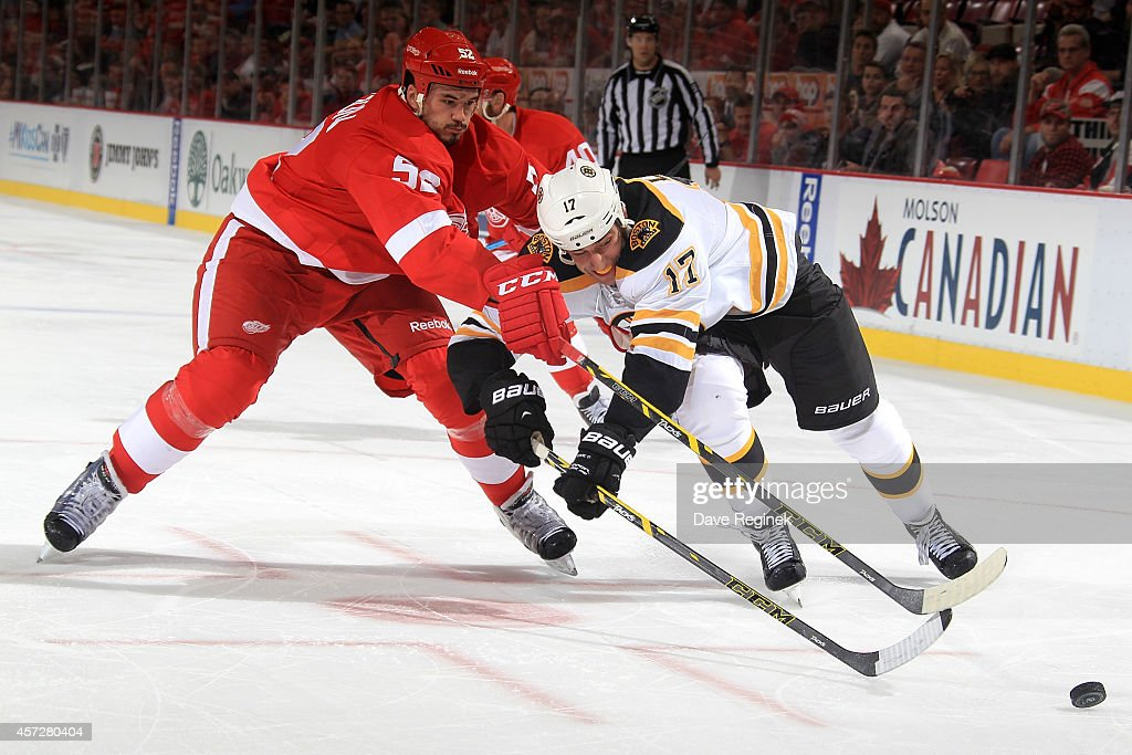 Milan Lucic of the Boston Bruins and Jonathan Ericsson of the Detroit Red Wings battle for the puck during a NHL game on October 15 2014 at Joe Louis...