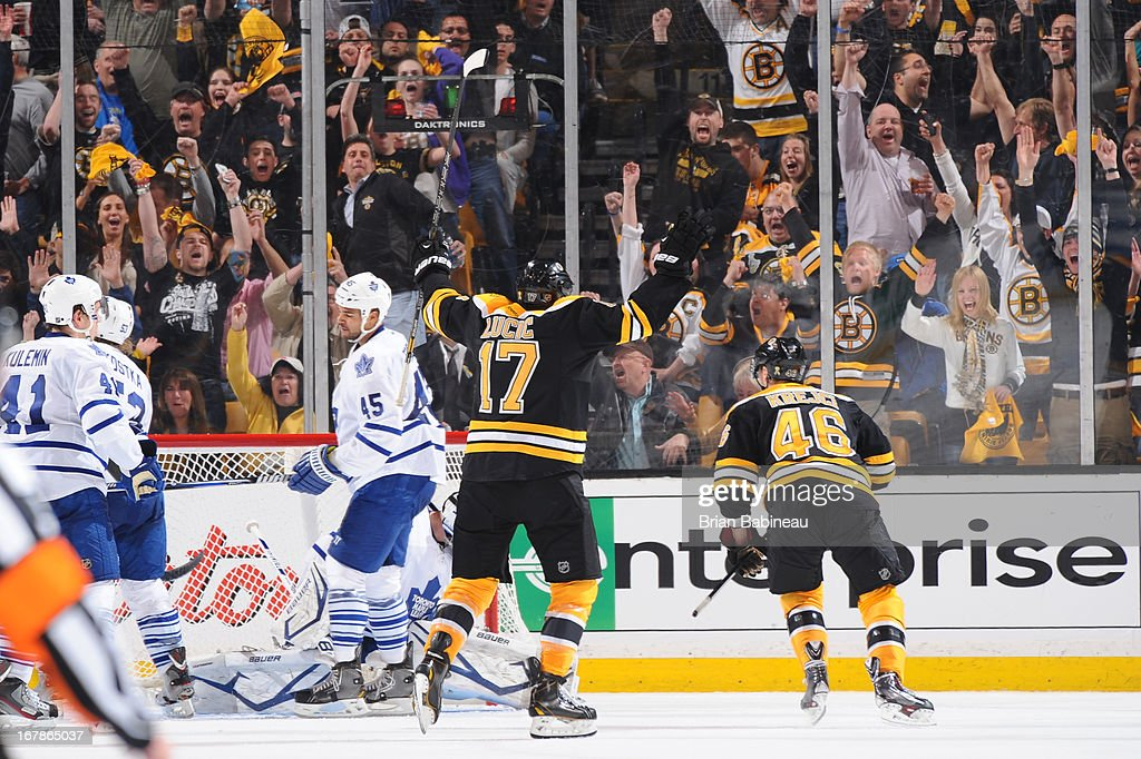 Milan Lucic #17 of the Boston Bruins celebrates a goal against the Toronto Maple Leafs in Game One of the Eastern Conference Quarterfinals during the 2013 NHL Stanley Cup Playoffs at TD Garden on May 1, 2013 in Boston, Massachusetts.