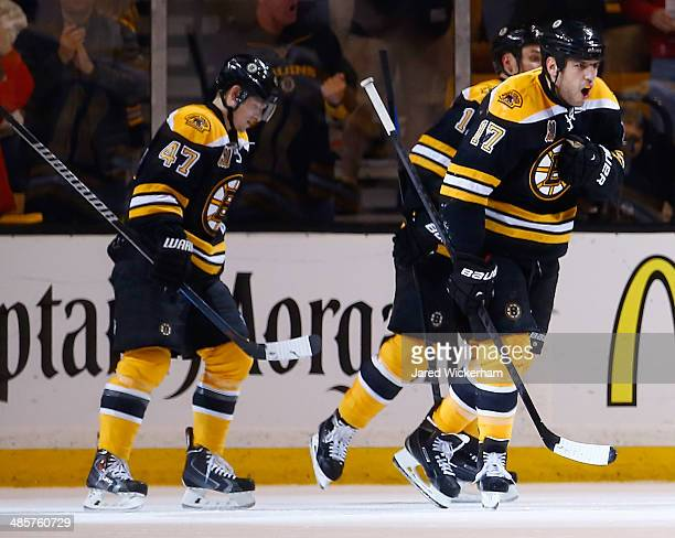 Milan Lucic of the Boston Bruins celebrates his goal in the second period against the Detroit Red Wings during the game at TD Garden on April 20 2014...