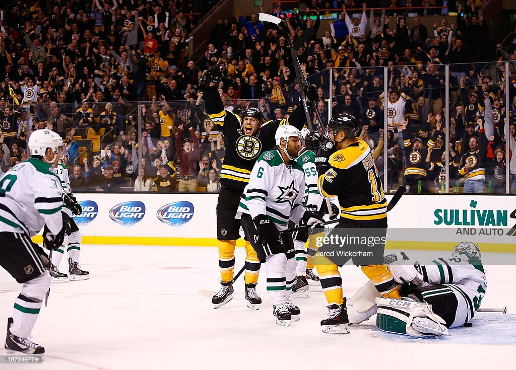 <a gi-track='captionPersonalityLinkClicked' href=/galleries/search?phrase=Milan+Lucic&family=editorial&specificpeople=537957 ng-click='$event.stopPropagation()'>Milan Lucic</a> #17 of the Boston Bruins celebrates his goal in the third period against the Dallas Stars at TD Garden on November 5, 2013 in Boston, Massachusetts.