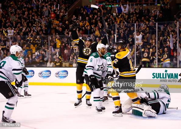 Milan Lucic of the Boston Bruins celebrates his goal in the third period against the Dallas Stars at TD Garden on November 5 2013 in Boston...