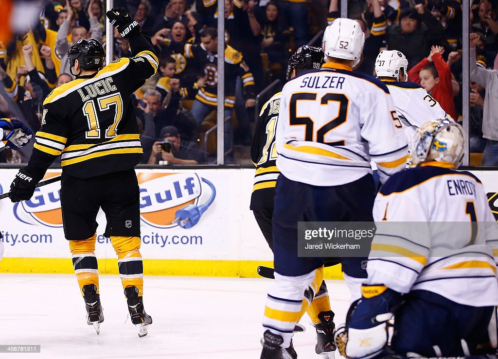 <a gi-track='captionPersonalityLinkClicked' href=/galleries/search?phrase=Milan+Lucic&family=editorial&specificpeople=537957 ng-click='$event.stopPropagation()'>Milan Lucic</a> #17 of the Boston Bruins celebrates his goal in the third period against the Buffalo Sabres during the game at TD Garden on December 21, 2013 in Boston, Massachusetts.