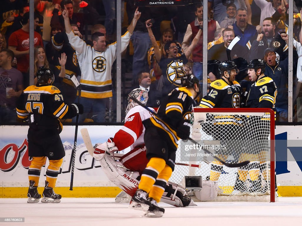 <a gi-track='captionPersonalityLinkClicked' href=/galleries/search?phrase=Milan+Lucic&family=editorial&specificpeople=537957 ng-click='$event.stopPropagation()'>Milan Lucic</a> #17 of the Boston Bruins celebrates his goal with teammate <a gi-track='captionPersonalityLinkClicked' href=/galleries/search?phrase=Jarome+Iginla&family=editorial&specificpeople=201792 ng-click='$event.stopPropagation()'>Jarome Iginla</a> #12 behind the net in the second period against the Detroit Red Wings during the game at TD Garden on April 20, 2014 in Boston, Massachusetts.