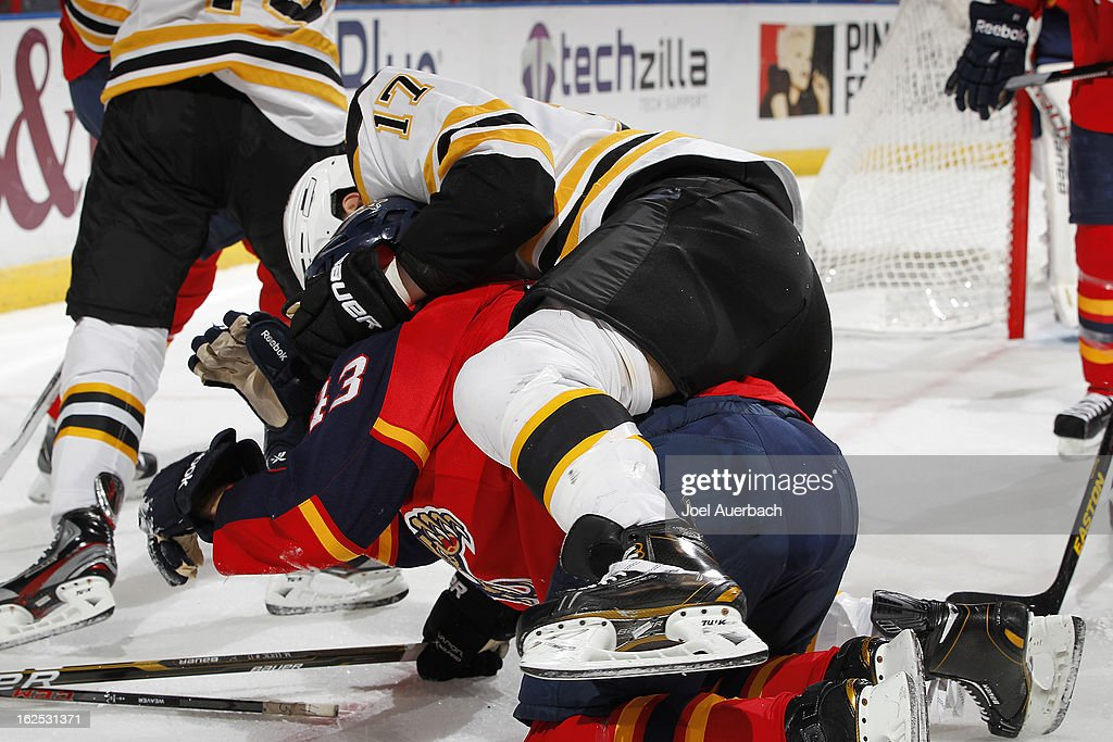 Milan Lucic #17 of the Boston Bruins fights Mike Weaver #43 of the Florida Panthers in the back at the BB&T Center on February 24, 2013 in Sunrise, Florida.