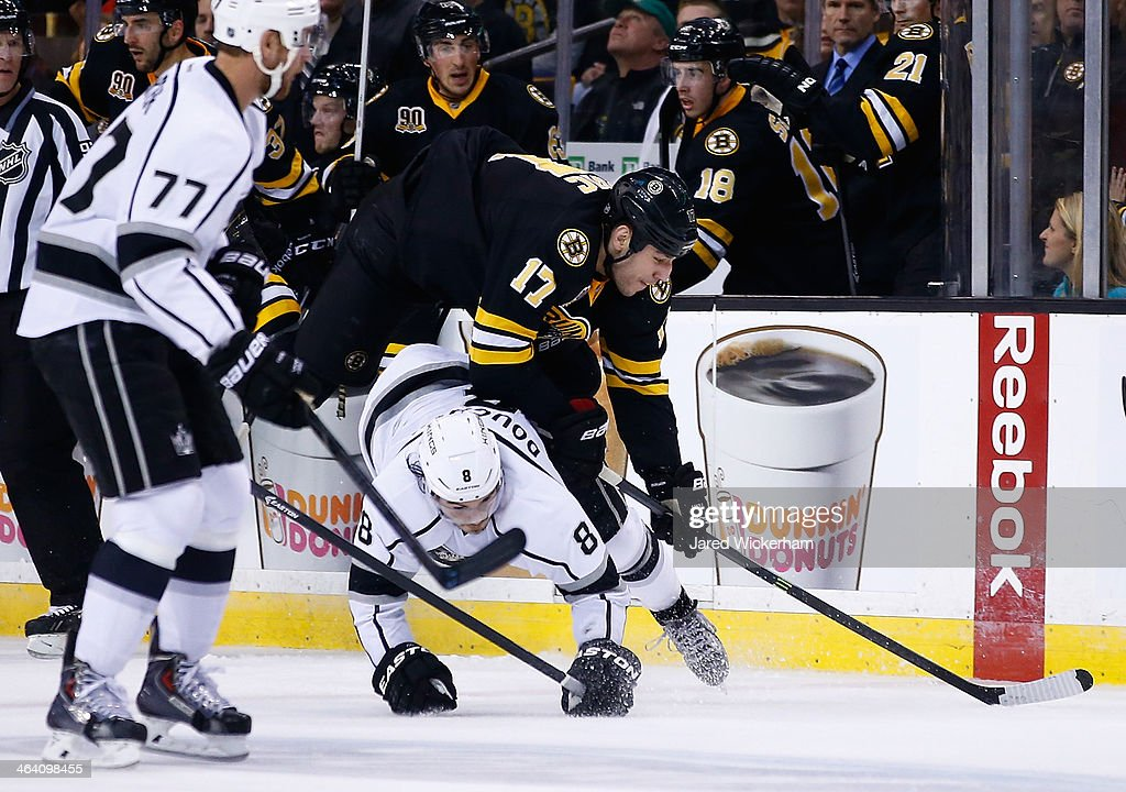 <a gi-track='captionPersonalityLinkClicked' href=/galleries/search?phrase=Milan+Lucic&family=editorial&specificpeople=537957 ng-click='$event.stopPropagation()'>Milan Lucic</a> #17 of the Boston Bruins flips over <a gi-track='captionPersonalityLinkClicked' href=/galleries/search?phrase=Drew+Doughty&family=editorial&specificpeople=2085761 ng-click='$event.stopPropagation()'>Drew Doughty</a> #8 of the Los Angeles Kings in the third period during the game at TD Garden on January 20, 2014 in Boston, Massachusetts.