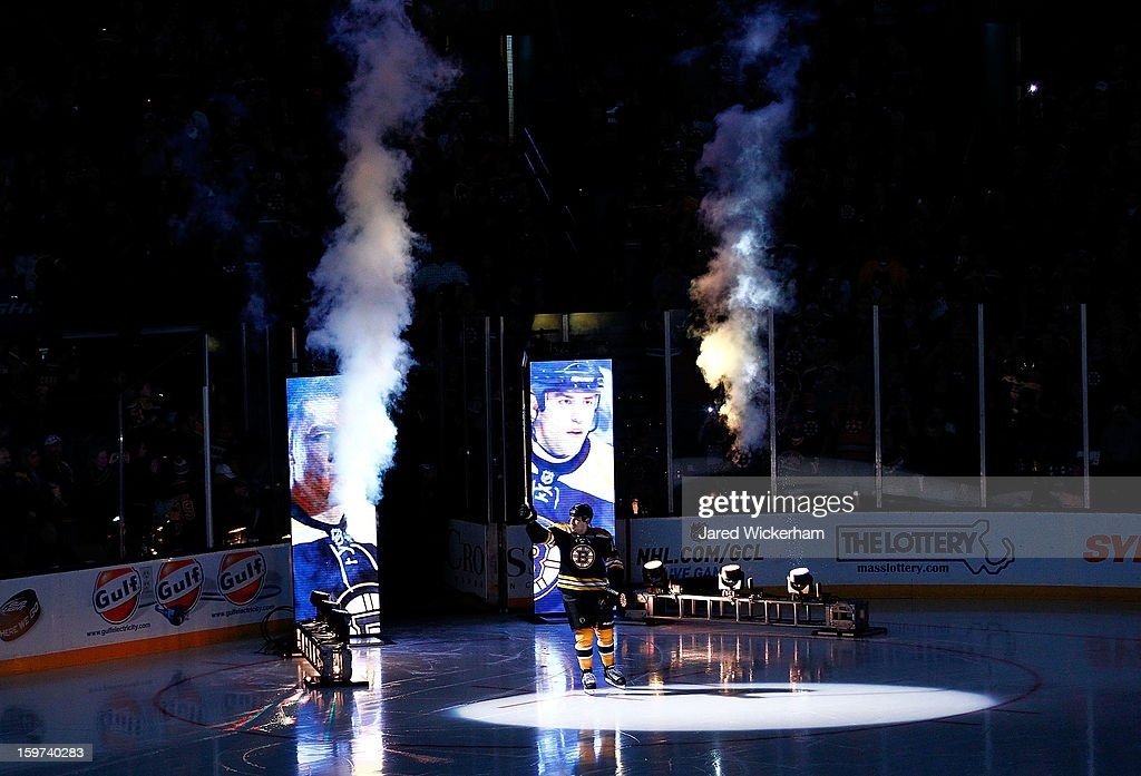 <a gi-track='captionPersonalityLinkClicked' href=/galleries/search?phrase=Milan+Lucic&family=editorial&specificpeople=537957 ng-click='$event.stopPropagation()'>Milan Lucic</a> #17 of the Boston Bruins is introduced during the game against the New York Rangers on January 19, 2013 at TD Garden in Boston, Massachusetts.