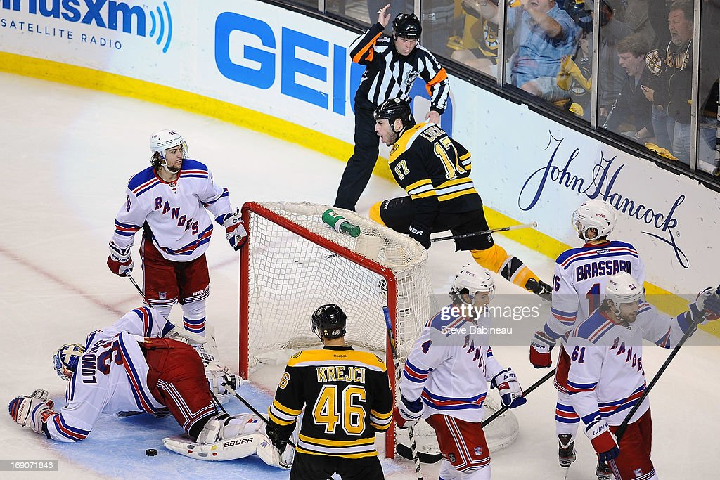 Milan Lucic #17 of the Boston Bruins scores a goal against the New York Rangers in Game Two of the Eastern Conference Semifinals during the 2013 NHL Stanley Cup Playoffs at TD Garden on May 19, 2013 in Boston, Massachusetts.