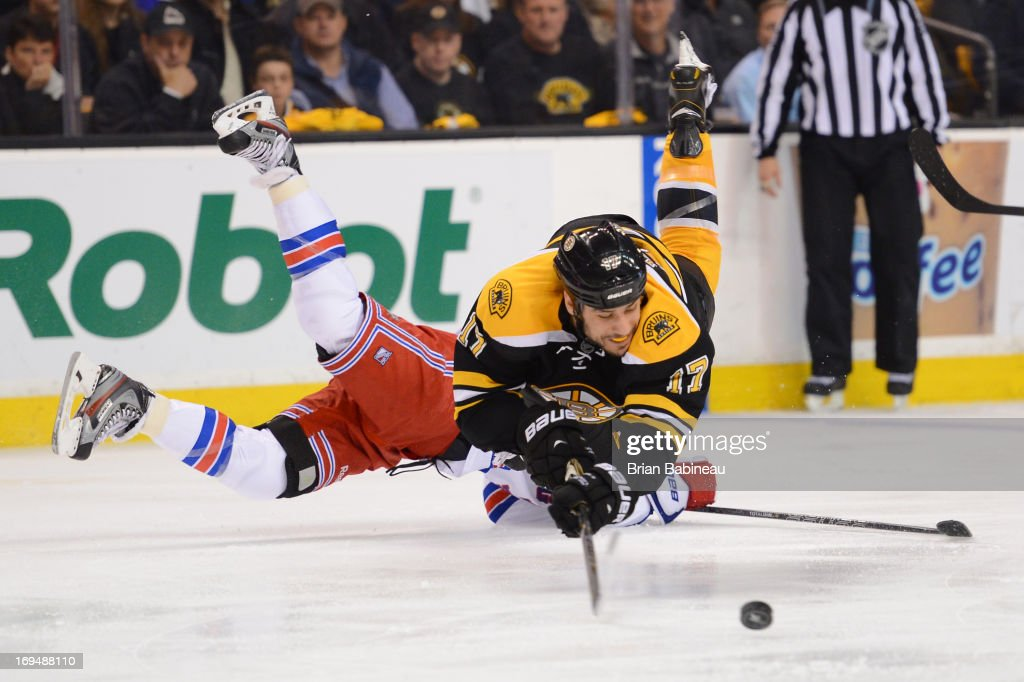 Milan Lucic #17 of the Boston Bruins shoots the puck against the New York Rangers in Game Five of the Eastern Conference Semifinals during the 2013 NHL Stanley Cup Playoffs at TD Garden on May 25, 2013 in Boston, Massachusetts.
