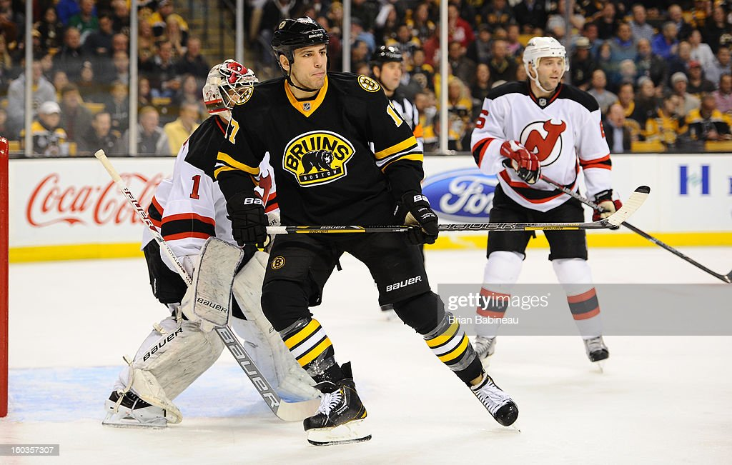 Milan Lucic #17 of the Boston Bruins skates against the New Jersey Devils at the TD Garden on January 29, 2013 in Boston, Massachusetts.