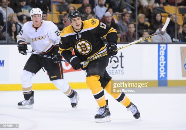 Milan Lucic of the Boston Bruins skates up the ice against the Anaheim Ducks at the TD Garden on October 8 2009 in Boston Massachusetts
