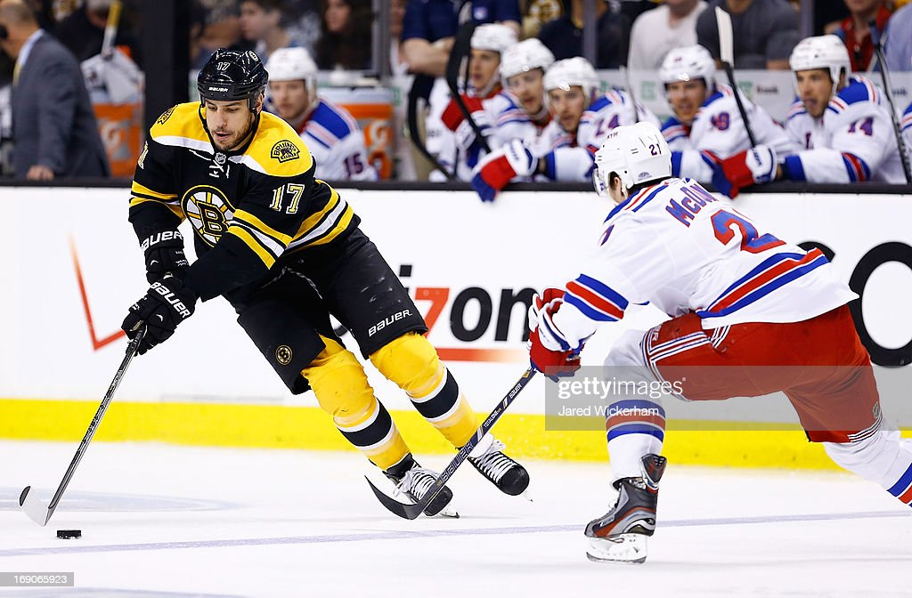 Milan Lucic #17 of the Boston Bruins skates with the puck in front of Ryan McDonagh #27 of the New York Rangers in the first period in Game Two of the Eastern Conference Semifinals during the 2013 NHL Stanley Cup Playoffs on May 19, 2013 at TD Garden in Boston, Massachusetts.
