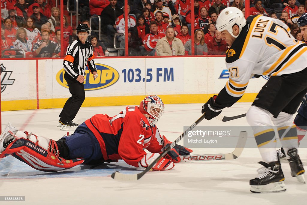 <a gi-track='captionPersonalityLinkClicked' href=/galleries/search?phrase=Milan+Lucic&family=editorial&specificpeople=537957 ng-click='$event.stopPropagation()'>Milan Lucic</a> #17 of the Boston Bruins takes a shot and scores teams first goal during the first period of an NHL hockey game against <a gi-track='captionPersonalityLinkClicked' href=/galleries/search?phrase=Tomas+Vokoun&family=editorial&specificpeople=202179 ng-click='$event.stopPropagation()'>Tomas Vokoun</a> #29 of the Washington Capitals on February 5, 2012 at the Verizon Center in Washington, DC.