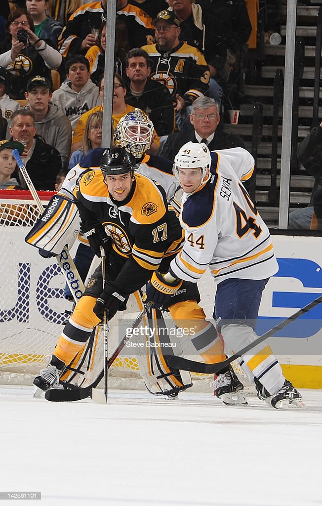 <a gi-track='captionPersonalityLinkClicked' href=/galleries/search?phrase=Milan+Lucic&family=editorial&specificpeople=537957 ng-click='$event.stopPropagation()'>Milan Lucic</a> #17 of the Boston Bruins watches the play against <a gi-track='captionPersonalityLinkClicked' href=/galleries/search?phrase=Jhonas+Enroth&family=editorial&specificpeople=570456 ng-click='$event.stopPropagation()'>Jhonas Enroth</a> #1 and <a gi-track='captionPersonalityLinkClicked' href=/galleries/search?phrase=Andrej+Sekera&family=editorial&specificpeople=722503 ng-click='$event.stopPropagation()'>Andrej Sekera</a> #44 of the Buffalo Sabres at the TD Garden on April 7, 2012 in Boston, Massachusetts.