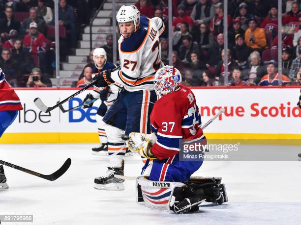 Milan Lucic of the Edmonton Oilers screens goaltender Antti Niemi of the Montreal Canadiens during the NHL game at the Bell Centre on December 9 2017...