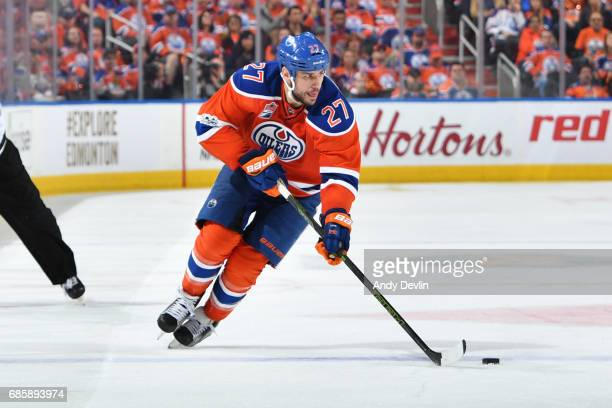 Milan Lucic of the Edmonton Oilers skates in Game Three of the Western Conference Second Round during the 2017 NHL Stanley Cup Playoffs against the...