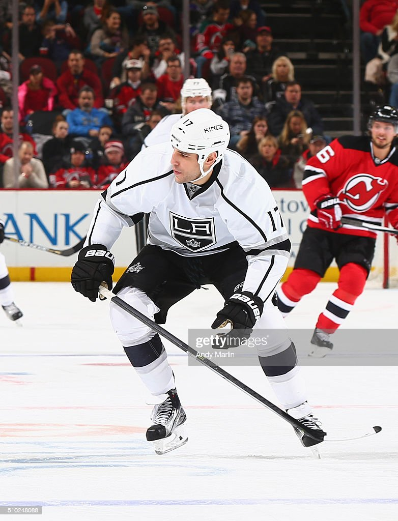 Milan Lucic #17 of the Los Angeles Kings skates in the second-period during the game against the New Jersey Devils at the Prudential Center on February 14, 2016 in Newark, New Jersey.