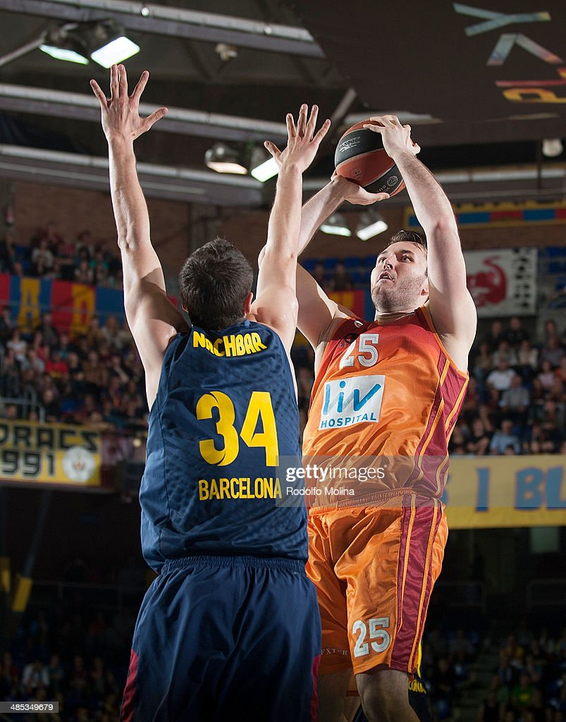 Milan Macvan, #25 of Galatasaray Liv Hospital Istanbul in action during the Turkish Airlines Euroleague Basketball Play Off Game 2 between FC Barcelona Regal v Galatasaray Liv Hospital Istanbul at Palau Blaugrana on April 17, 2014 in Barcelona, Spain.