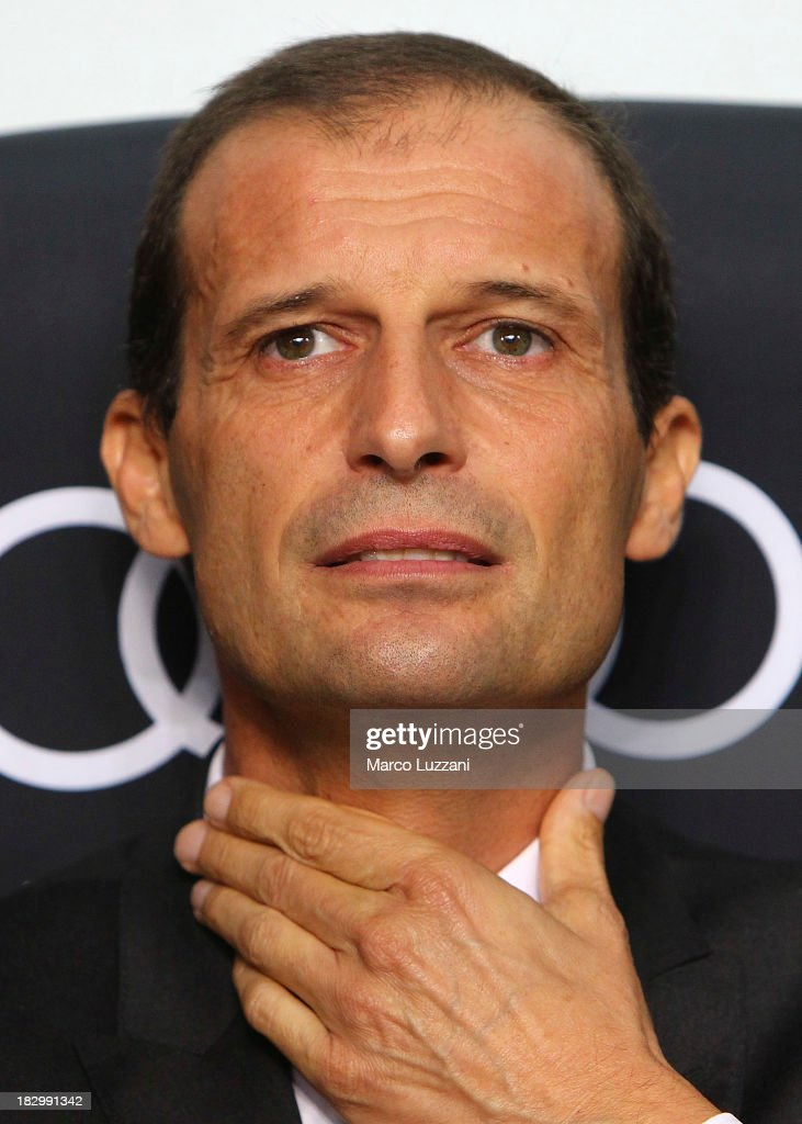 AC Milan manager <a gi-track='captionPersonalityLinkClicked' href=/galleries/search?phrase=Massimiliano+Allegri&family=editorial&specificpeople=3470667 ng-click='$event.stopPropagation()'>Massimiliano Allegri</a> looks on before the Serie A match between AC Milan and UC Sampdoria at Stadio Giuseppe Meazza on September 28, 2013 in Milan, Italy.