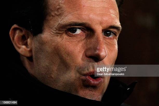 Milan Manager Massimiliano Allegri looks on during the UEFA Champions League Group C match between RSC Anderlecht and AC Milan at the Constant Vanden...