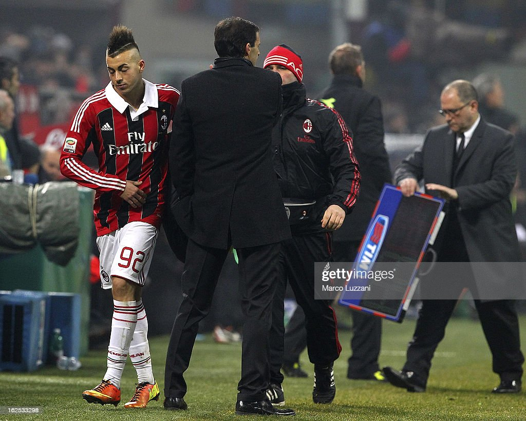 AC Milan manager Massimiliano Allegri shakes hands with Stephan El Shaarawy of AC Milan during the Serie A match FC Internazionale Milano and AC Milan at San Siro Stadium on February 24, 2013 in Milan, Italy.