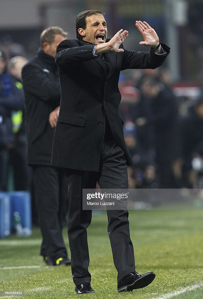 AC Milan manager Massimiliano Allegri shouts to his players during the Serie A match FC Internazionale Milano and AC Milan at San Siro Stadium on February 24, 2013 in Milan, Italy.