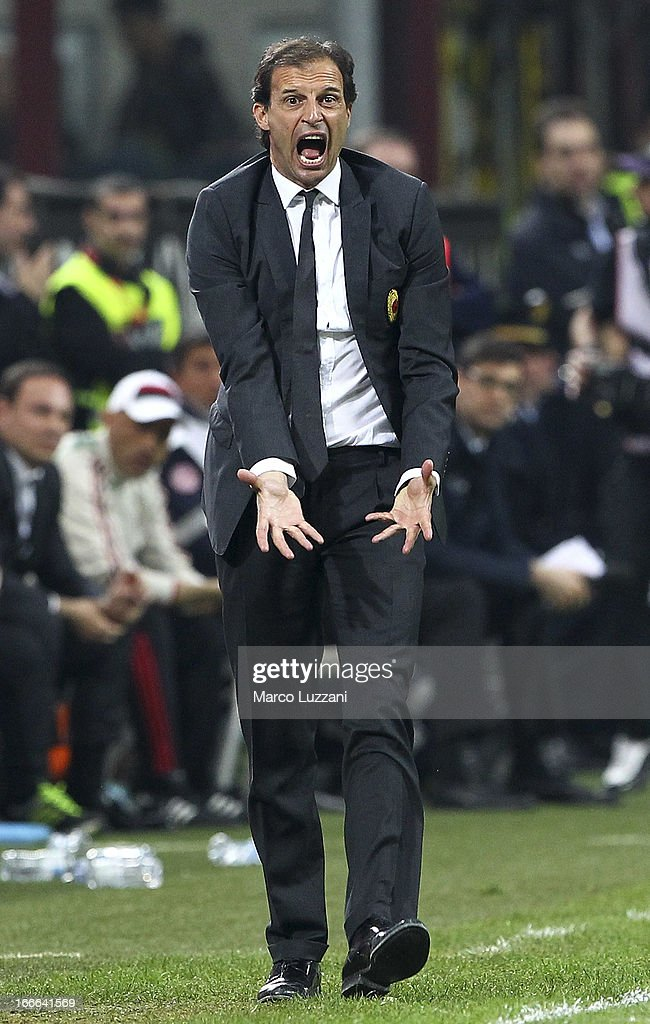 AC Milan manager <a gi-track='captionPersonalityLinkClicked' href=/galleries/search?phrase=Massimiliano+Allegri&family=editorial&specificpeople=3470667 ng-click='$event.stopPropagation()'>Massimiliano Allegri</a> shouts to his players during the Serie A match between AC Milan and SSC Napoli at San Siro Stadium on April 14, 2013 in Milan, Italy.