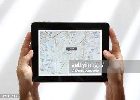 Milan Map on  Digital Tablet : Stock Photo