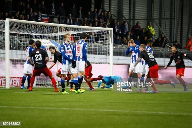 Milan Massop of Excelsior Martin Oldegaard of sc Heerenveen Pelle van Amersfoort of sc Heerenveen Mike van Duinen of Excelsior goalkeeper Erwin...