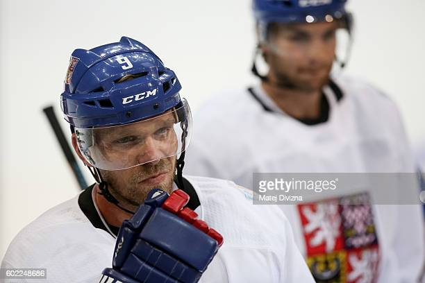 Milan Michalek of Czech Republic attends a practice for the 2016 World Cup Of Hockey preparation match between Czech Republic and Russia at O2 Arena...