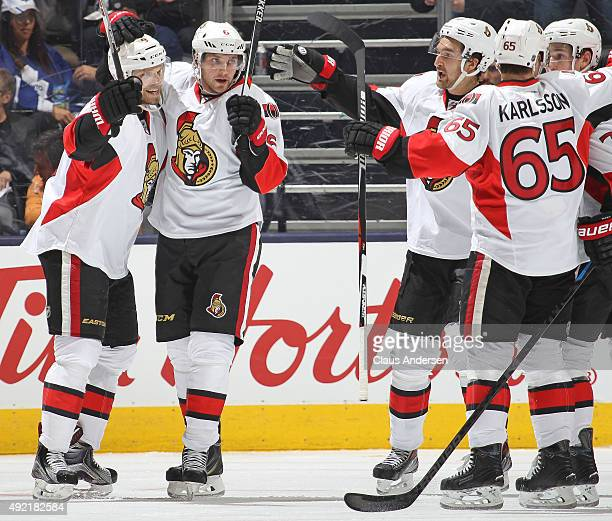 Milan Michalek of the Ottawa Senators celebrates a goal against the Toronto Maple Leafs during an NHL game at the Air Canada Centre on October 10...